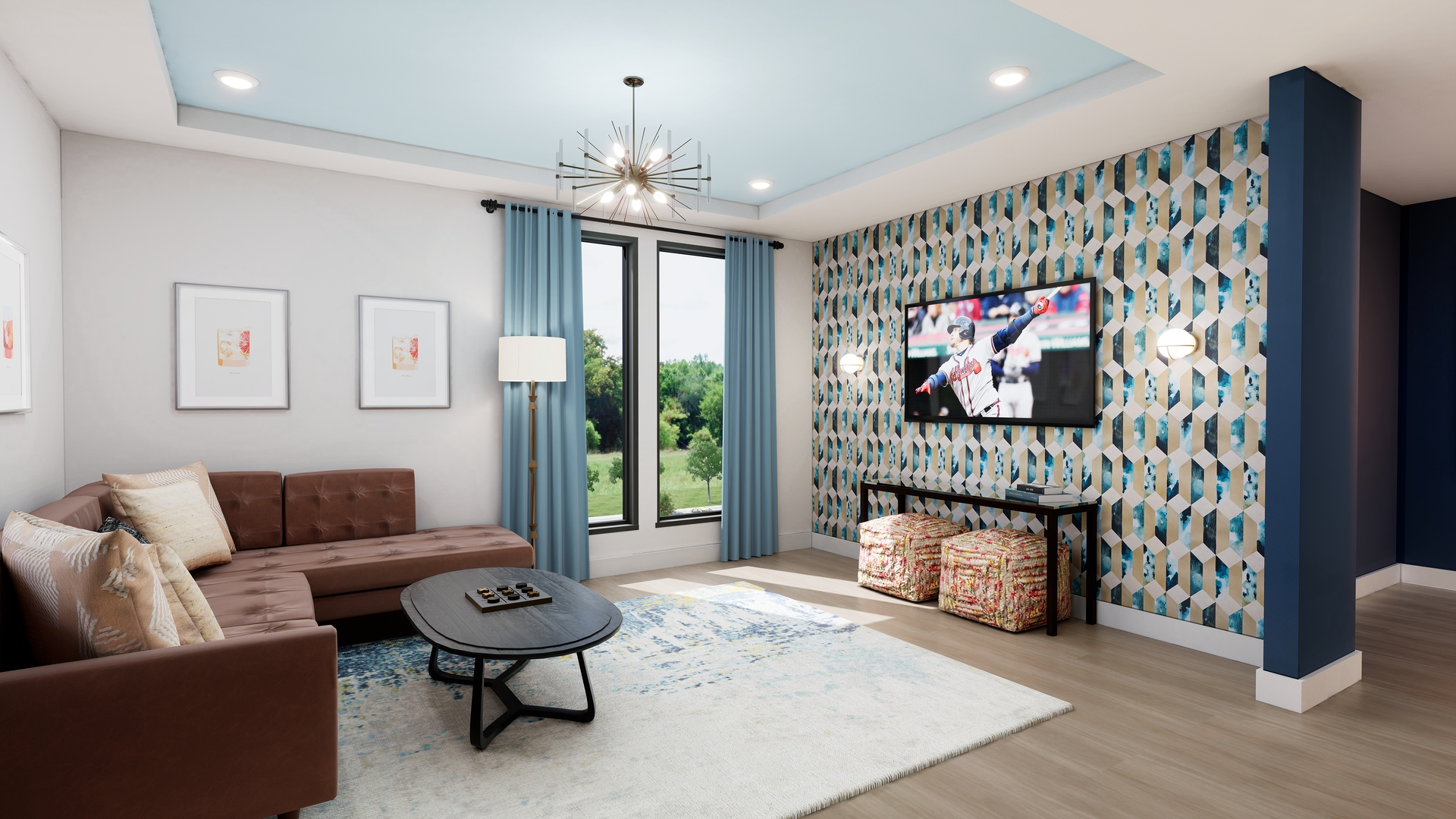 Clubroom Lounge rendering with a soft modern ascetic at Broadstone Alliance Residential Company