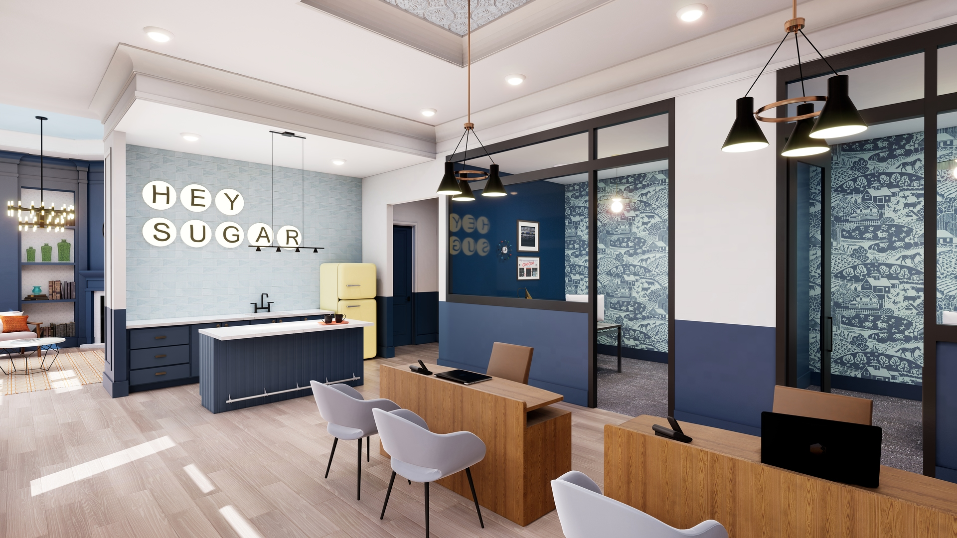"""Leasing Lobby at Broadstone Sugar Hill Rendering """"Hey Sugar"""" is spelled out on the left side wall"""