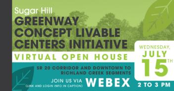 Sugar Hill LCI Greenway concept open house invitation